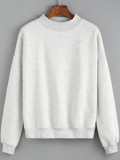 Light Grey Round Neck Crop Sweatshirt