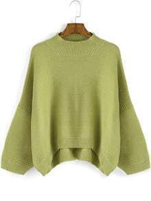 Green Round Neck Loose Dip Hem Sweater