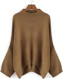 Khaki Round Neck Loose Dip Hem Sweater