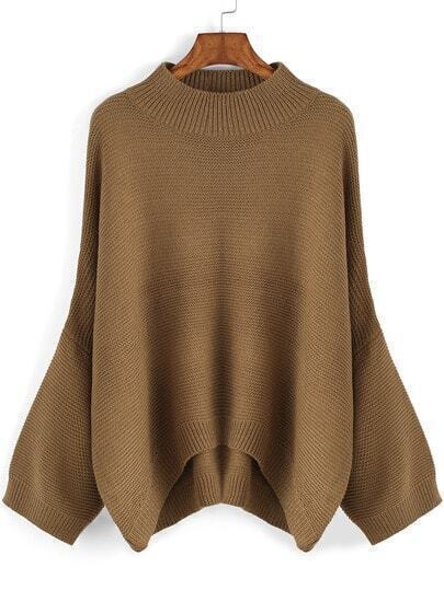 Khaki Round Neck Loose Dip Hem Sweater