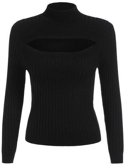 Black High Neck Hollow Slim Sweater