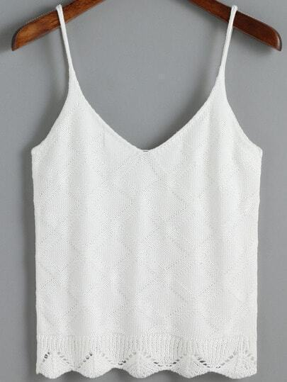 White Spaghetti Strap Diamond Patterned Cami Top