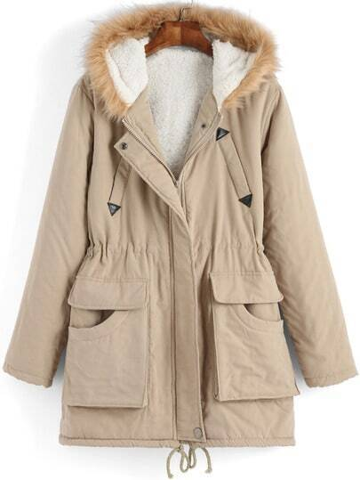 Khaki Faux Fur Hooded Pockets Coat