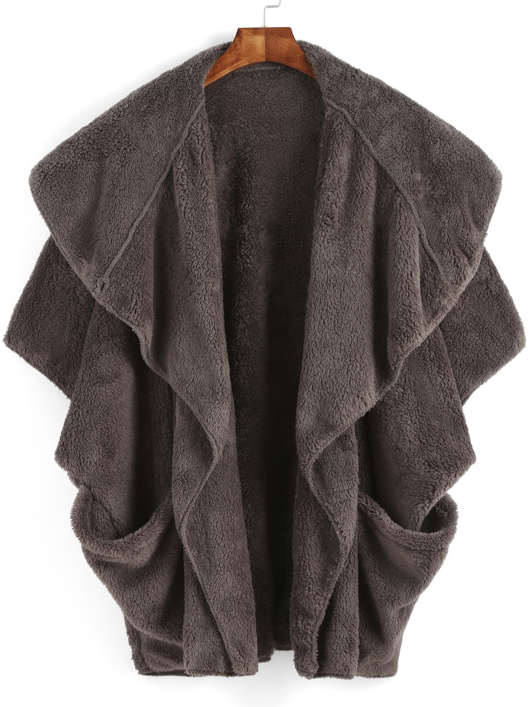 Grey Lapel Batwing Pockets Cape