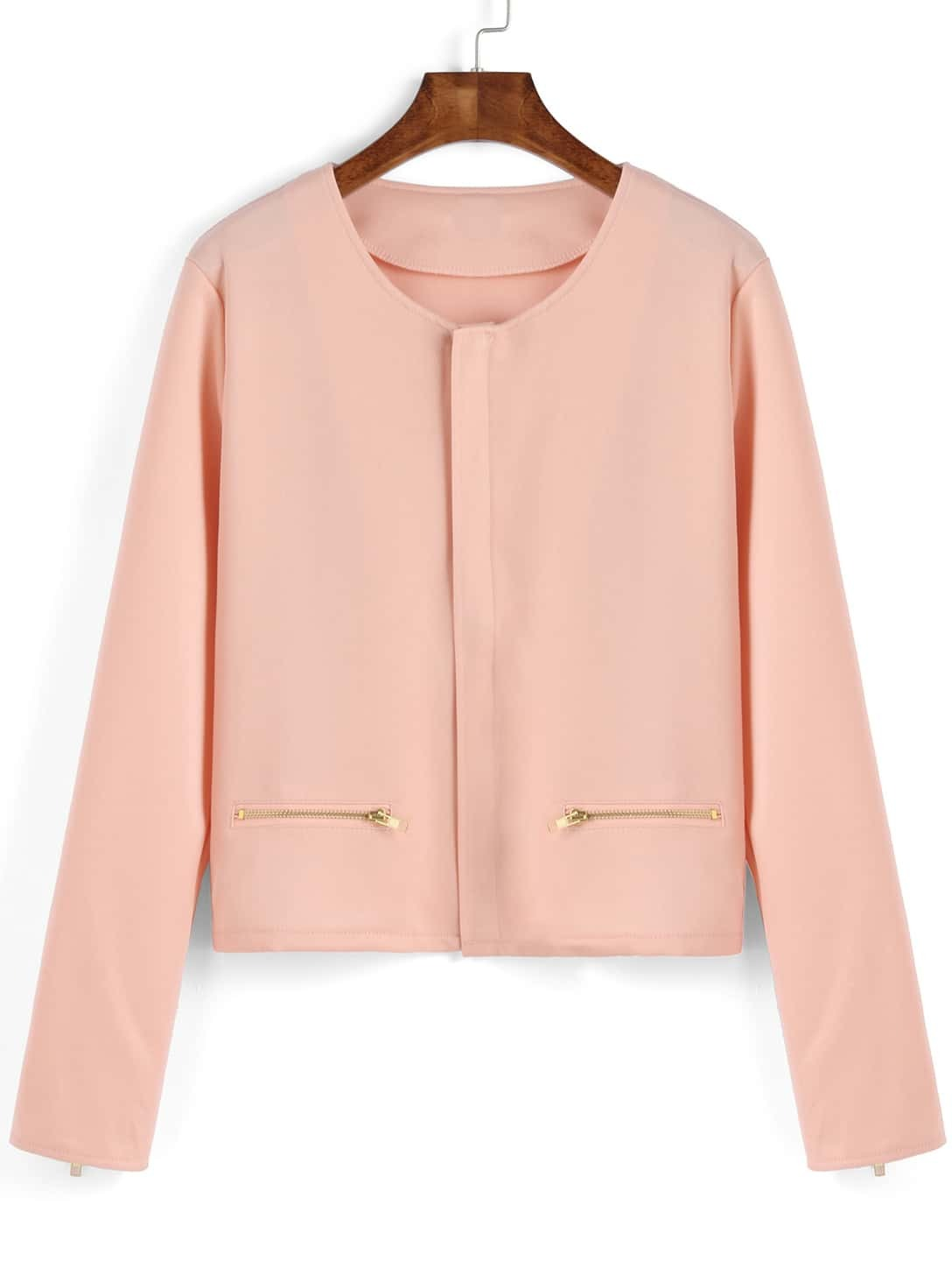 Pink Long Sleeve Zipper Crop Coat
