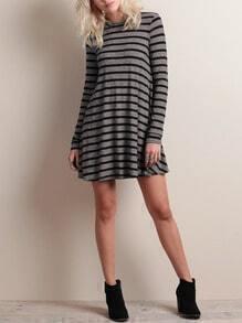 Grey Black Round Neck Striped Dress
