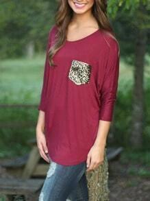 Burgundy Round Neck Sequined Pocket T-Shirt
