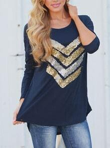 Navy Round Neck Sequined Loose T-Shirt