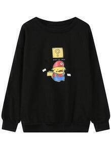 Black Round Neck Cartoon Print Loose Sweatshirt