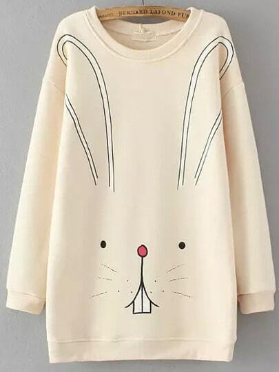 Beige Round Neck Cartoon Rabbit Print Sweatshirt