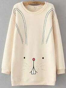 Beige Round Neck Cartoon Rabbit Print Sweatshirt