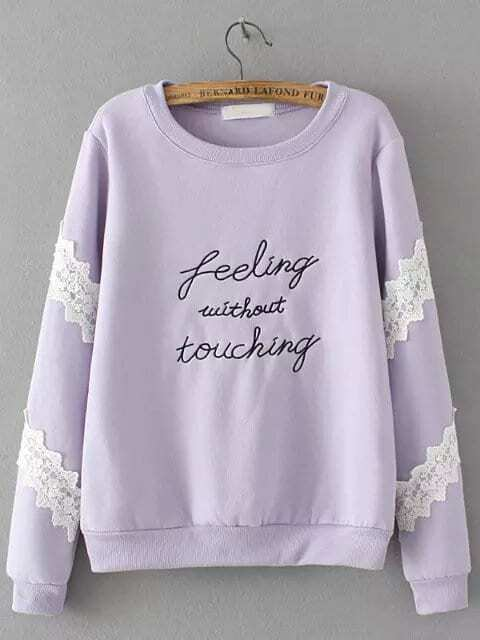Purple Round Neck Letters Embroidered Lace Sweatshirt