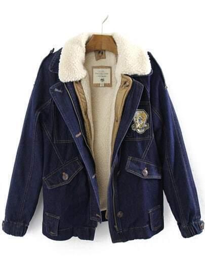 Navy Lapel Epaulet Pockets Denim Jacket