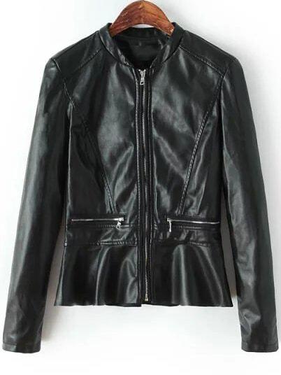Black Stand Collar Zipper PU Jacket
