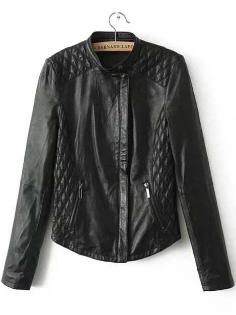 Black Stand Collar Diamond Patterned PU Jacket