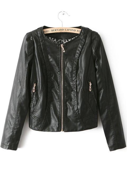 Black Round Neck Zipper Crop PU Jacket