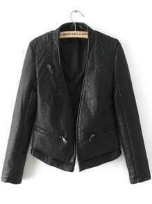 Black Long Sleeve Zipper Crop PU Jacket