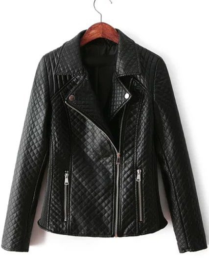 Black Lapel Oblique Zipper Diamond Patterned Jacket