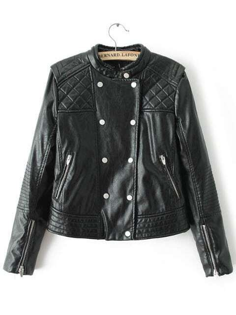 Black Stand Collar Diamond Patterned Crop Jacket