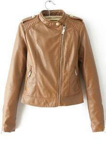 Brown Stand Collar Oblique Zipper Crop Jacket