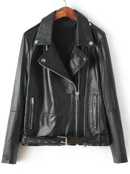 Black Lapel Epaulet Zipper Crop Jacket