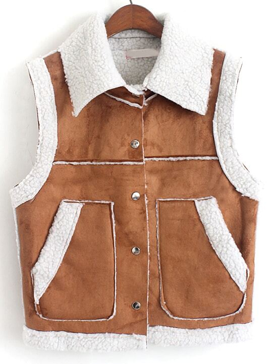 Khaki Lapel Single Breasted Pockets Vest