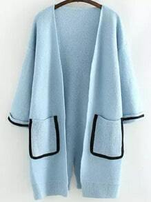 Blue Long Sleeve Contrast Trims Split Cardigan