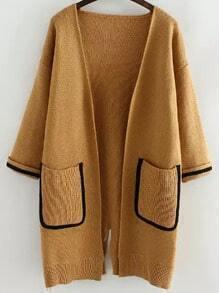 Khaki Long Sleeve Contrast Trims Split Cardigan