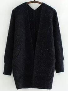 Navy Long Sleeve Pockets Knit Cardigan