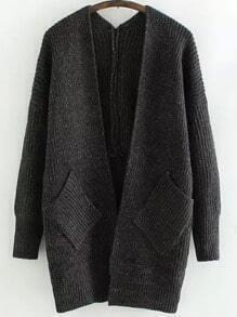 Dark Grey Long Sleeve Pockets Knit Cardigan