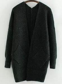 Dark Green Long Sleeve Pockets Knit Cardigan