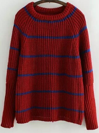 Red Round Neck Striped Loose Sweater