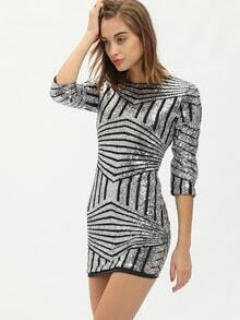 Silver Round Neck Sequined Bodycon Dress