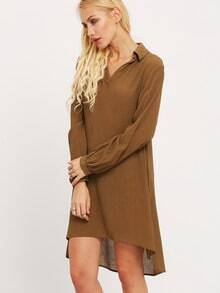 Army Green Long Sleeve Lapel Dress