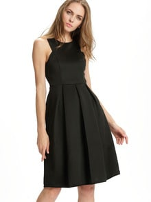 Black Sleeveless Ruffle Dress