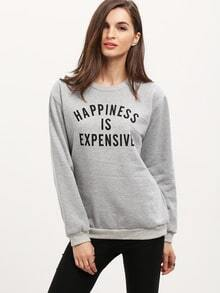 Letter Print Loose Grey Sweatshirt