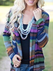 Striped Asymmetrical Multicolor Cardigan