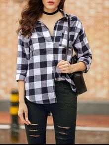 White Blue Long Sleeve Lapel Plaid Blouse
