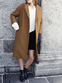 Khaki Long Sleeve Lapel Coat