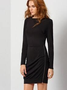 Black Long Sleeve Zipper Bodycon Dress