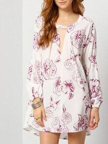 Beige Long Sleeve V Neck Floral Dress
