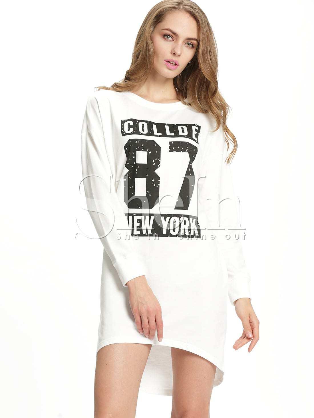 White Round Neck Letters Print Dress
