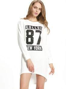 White Round Neck Letters Print Dress