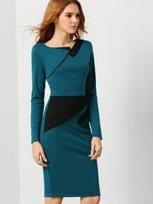 Blue Long Sleeve Color Block Dress