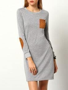Round Neck Patch Pocket Straight Dress
