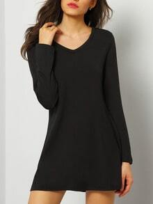 V Neck Long Sleeve A-Line Dress