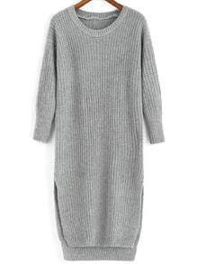 Slit High Low Grey Sweater Dress