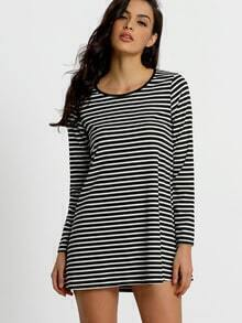 Long Sleeve Striped Shift Dress