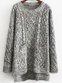 Dip Hem Cable Knit Pockets Grey Sweater