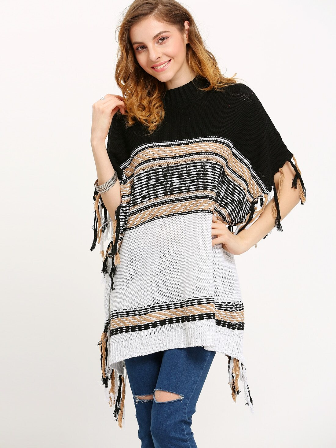 Turtleneck Color-block Tassel Poncho